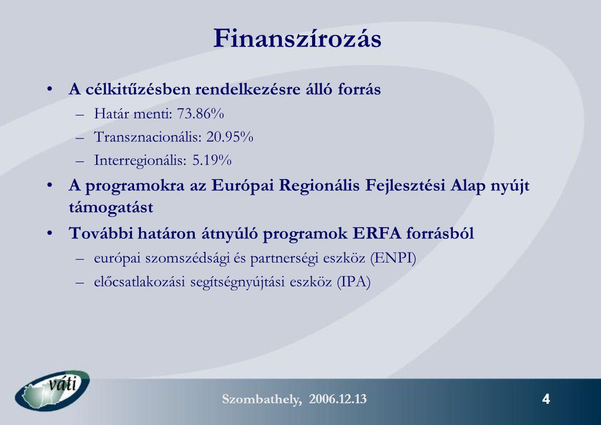 Szombathely, 2006.12.13 25 HU – SK 2007-2013 Magyarország – Szlovákia Területi Együttműködési program 2007-2013 Tervezett finanszírozás: ~105 M EUR ERFA (Magyarország), ~71 M ERFA (Szlovákia)