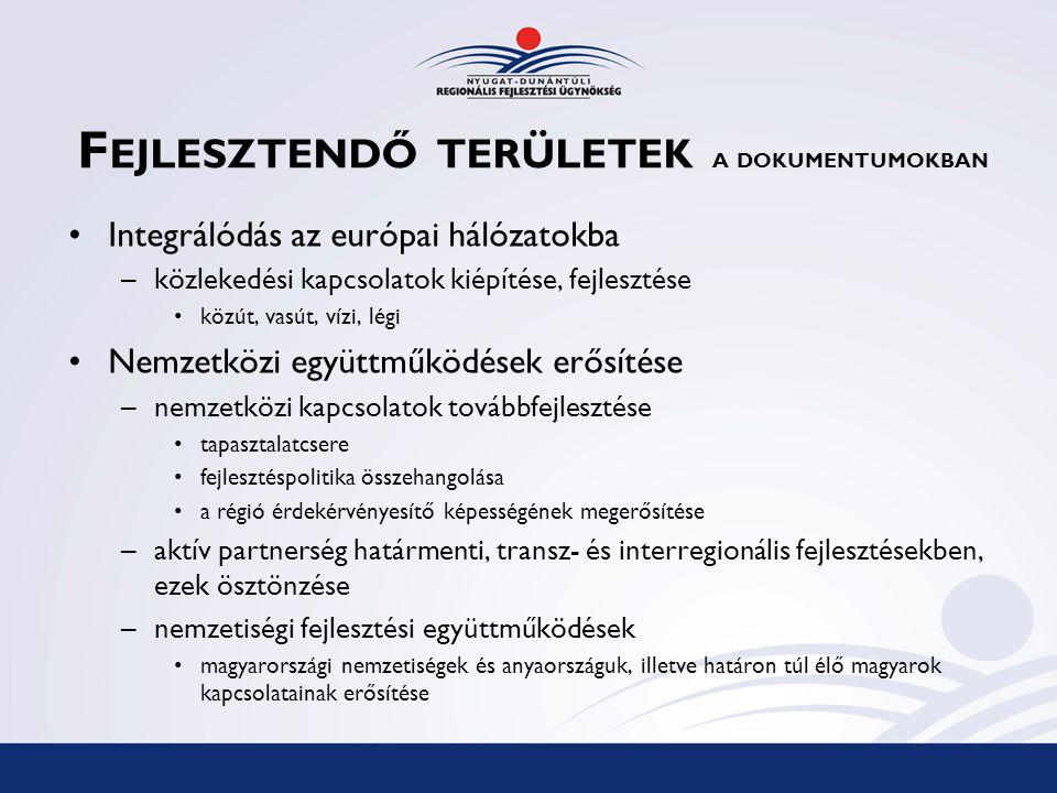 F EJLESZTENDŐ TERÜLETEK A DOKUMENTUMOKBAN Integrálódás az európai hálózatokba –közlekedési kapcsolatok kiépítése, fejlesztése közút, vasút, vízi, légi
