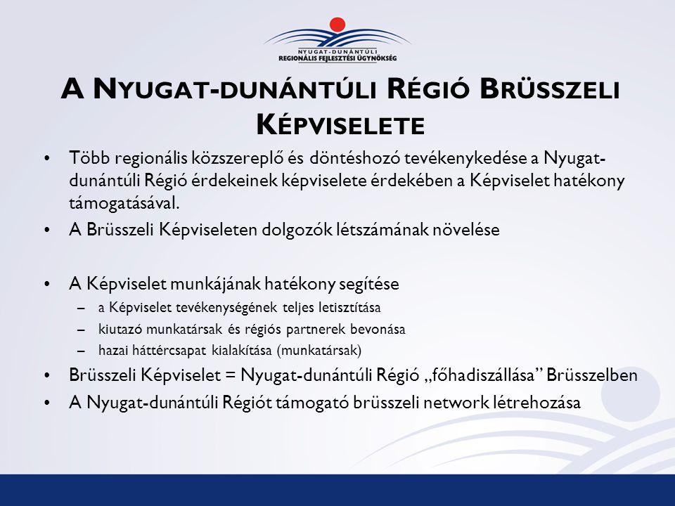 A N YUGAT - DUNÁNTÚLI R ÉGIÓ B RÜSSZELI K ÉPVISELETE Több regionális közszereplő és döntéshozó tevékenykedése a Nyugat- dunántúli Régió érdekeinek képviselete érdekében a Képviselet hatékony támogatásával.