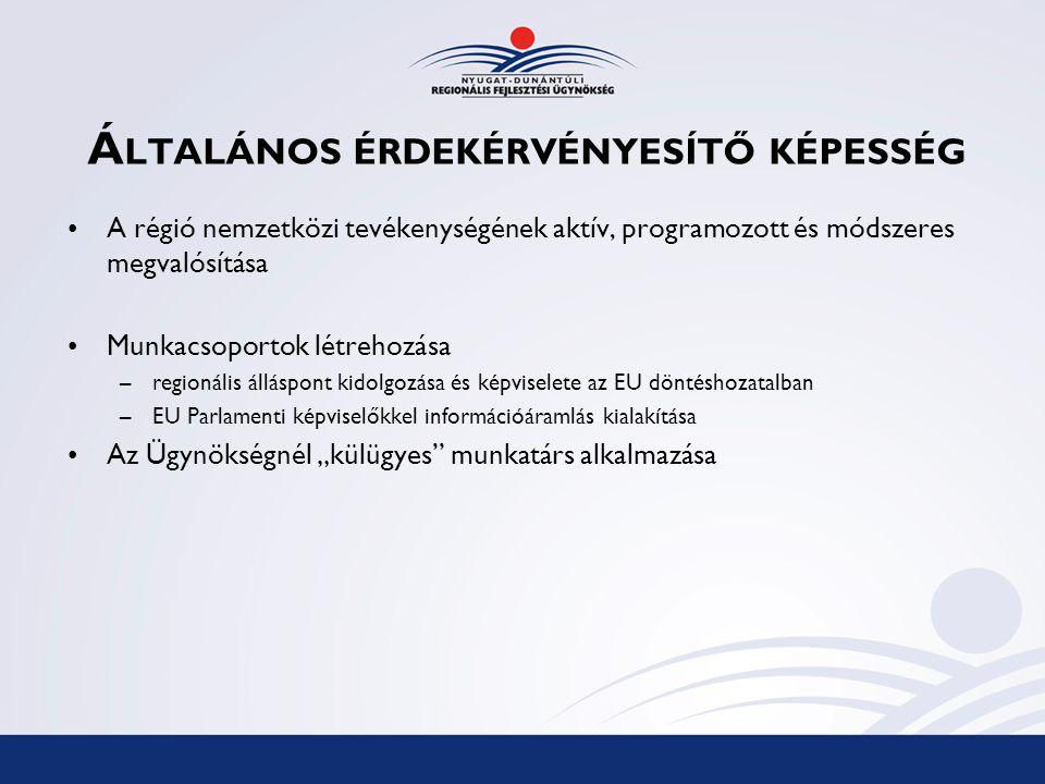 """Á LTALÁNOS ÉRDEKÉRVÉNYESÍTŐ KÉPESSÉG A régió nemzetközi tevékenységének aktív, programozott és módszeres megvalósítása Munkacsoportok létrehozása –regionális álláspont kidolgozása és képviselete az EU döntéshozatalban –EU Parlamenti képviselőkkel információáramlás kialakítása Az Ügynökségnél """"külügyes munkatárs alkalmazása"""