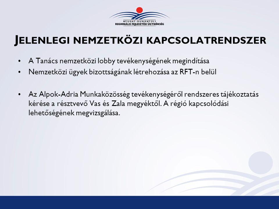J ELENLEGI NEMZETKÖZI KAPCSOLATRENDSZER A Tanács nemzetközi lobby tevékenységének megindítása Nemzetközi ügyek bizottságának létrehozása az RFT-n belül Az Alpok-Adria Munkaközösség tevékenységéről rendszeres tájékoztatás kérése a résztvevő Vas és Zala megyéktől.