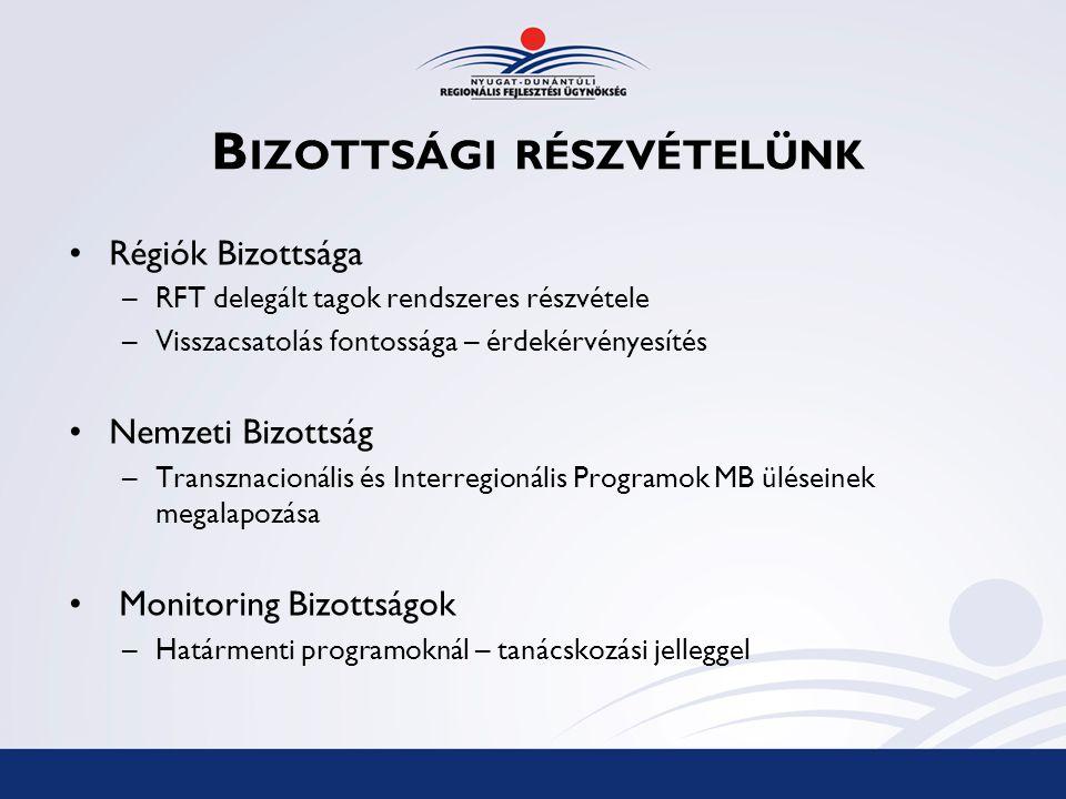B IZOTTSÁGI RÉSZVÉTELÜNK Régiók Bizottsága –RFT delegált tagok rendszeres részvétele –Visszacsatolás fontossága – érdekérvényesítés Nemzeti Bizottság –Transznacionális és Interregionális Programok MB üléseinek megalapozása Monitoring Bizottságok –Határmenti programoknál – tanácskozási jelleggel