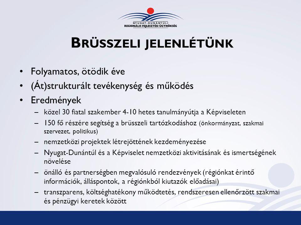 R ELEVÁNS STRATÉGIAI DOKUMENTUMOK Európai UnióLisszaboni szerződés Göteborgi szerződés Európai Területi Együttműködés szabályozása EU2020 program Balti Stratégia Duna Stratégia (munkaanyagok) Alpok-Adria Munkaközösség kommünikéje MagyarországMagyarország Külkapcsolati Stratégiája Országos Fejlesztéspolitikai Koncepció Országos Területfejlesztési Koncepció Nyugat-dunántúli RégióPartnerség 2007-13.