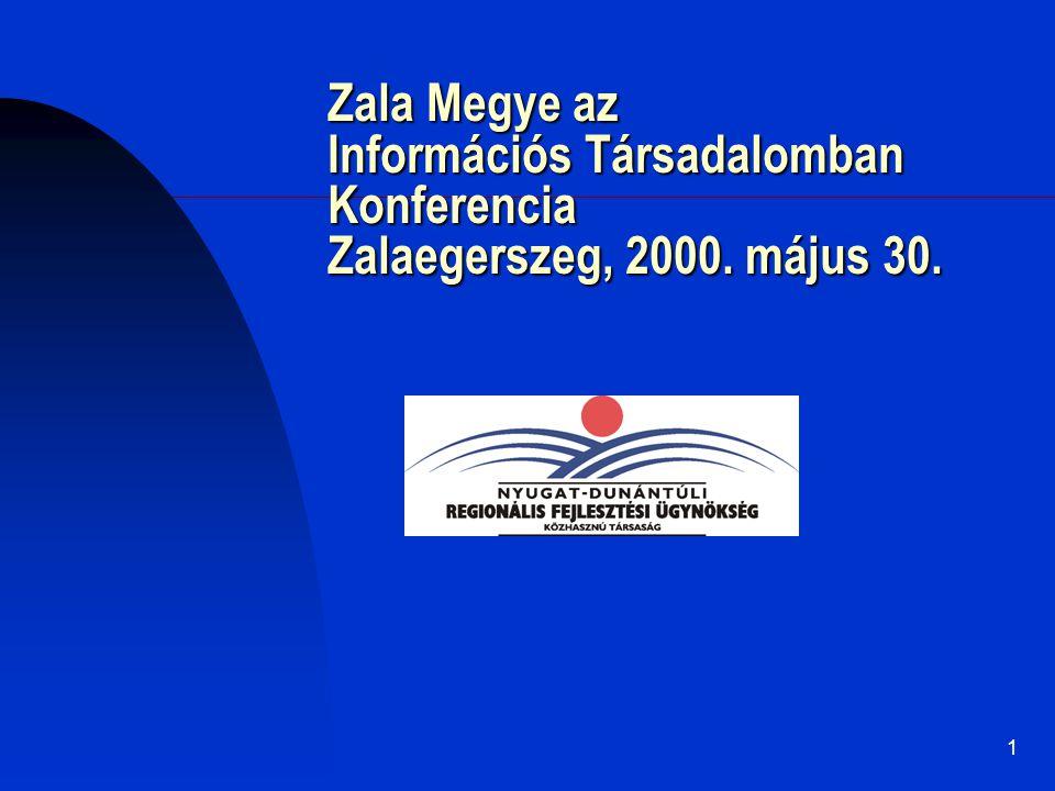 1 Zala Megye az Információs Társadalomban Konferencia Zalaegerszeg, 2000. május 30..