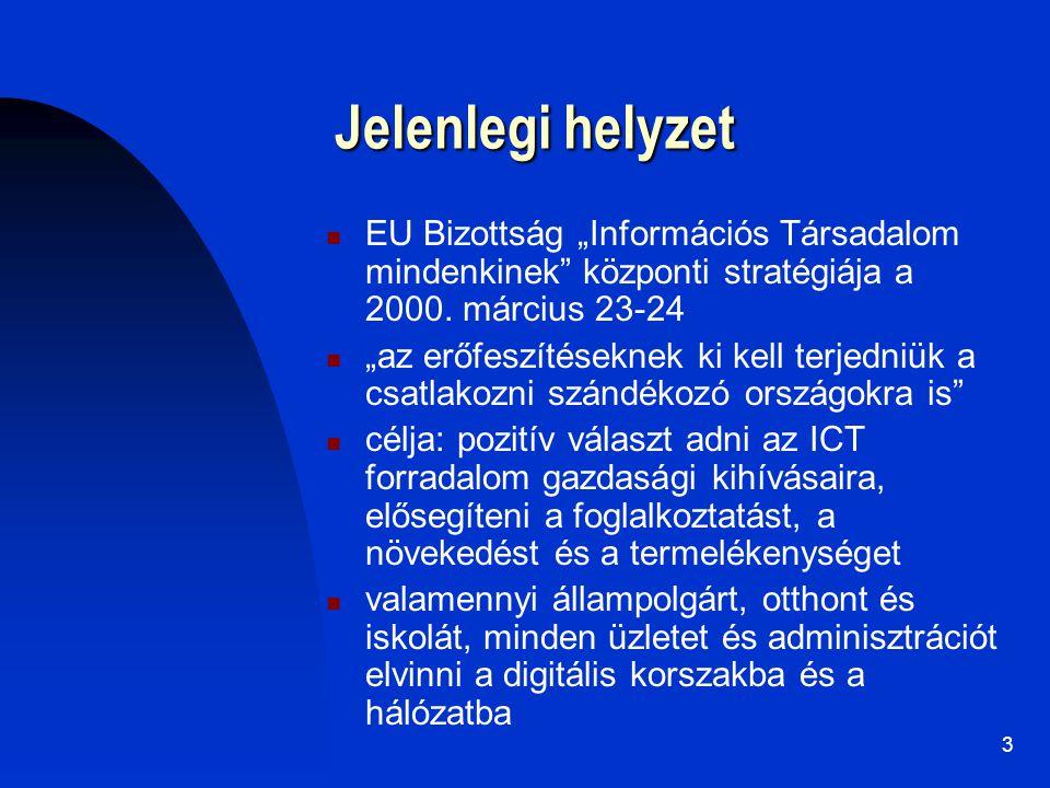 """3 Jelenlegi helyzet EU Bizottság """"Információs Társadalom mindenkinek"""" központi stratégiája a 2000. március 23-24 """"az erőfeszítéseknek ki kell terjedni"""