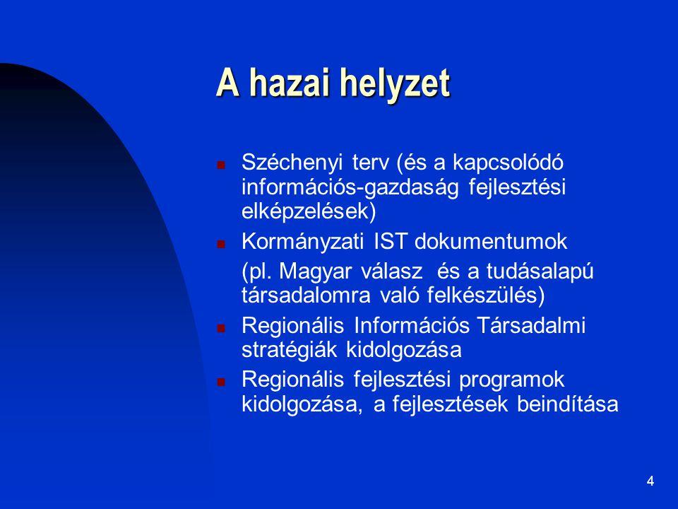 4 A hazai helyzet Széchenyi terv (és a kapcsolódó információs-gazdaság fejlesztési elképzelések) Kormányzati IST dokumentumok (pl. Magyar válasz és a