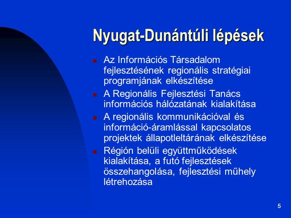 5 Nyugat-Dunántúli lépések Az Információs Társadalom fejlesztésének regionális stratégiai programjának elkészítése A Regionális Fejlesztési Tanács inf