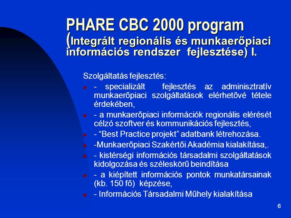 6 PHARE CBC 2000 program ( Integrált regionális és munkaerőpiaci információs rendszer fejlesztése) I. Szolgáltatás fejlesztés: - specializált fejleszt