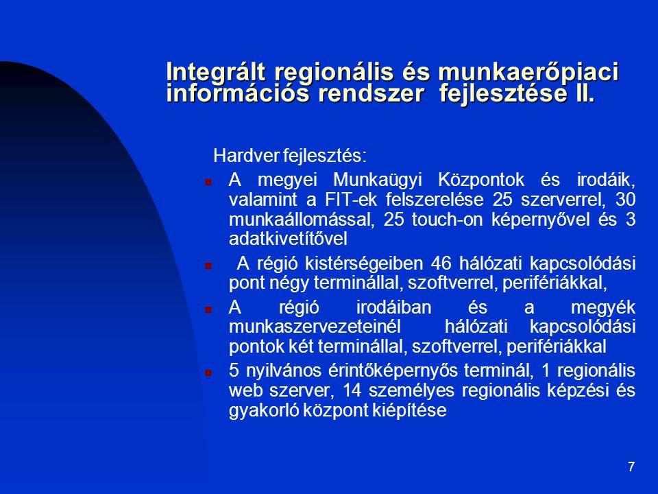 7 Integrált regionális és munkaerőpiaci információs rendszer fejlesztése II. Hardver fejlesztés: A megyei Munkaügyi Központok és irodáik, valamint a F