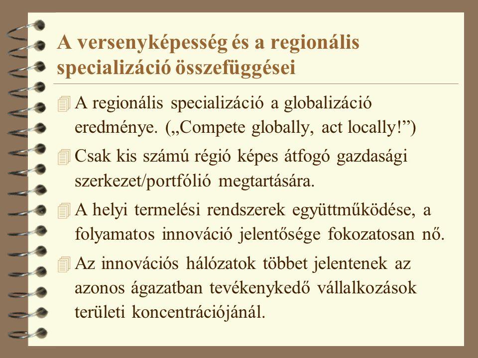 """A versenyképesség és a regionális specializáció összefüggései 4 A regionális specializáció a globalizáció eredménye. (""""Compete globally, act locally!"""""""