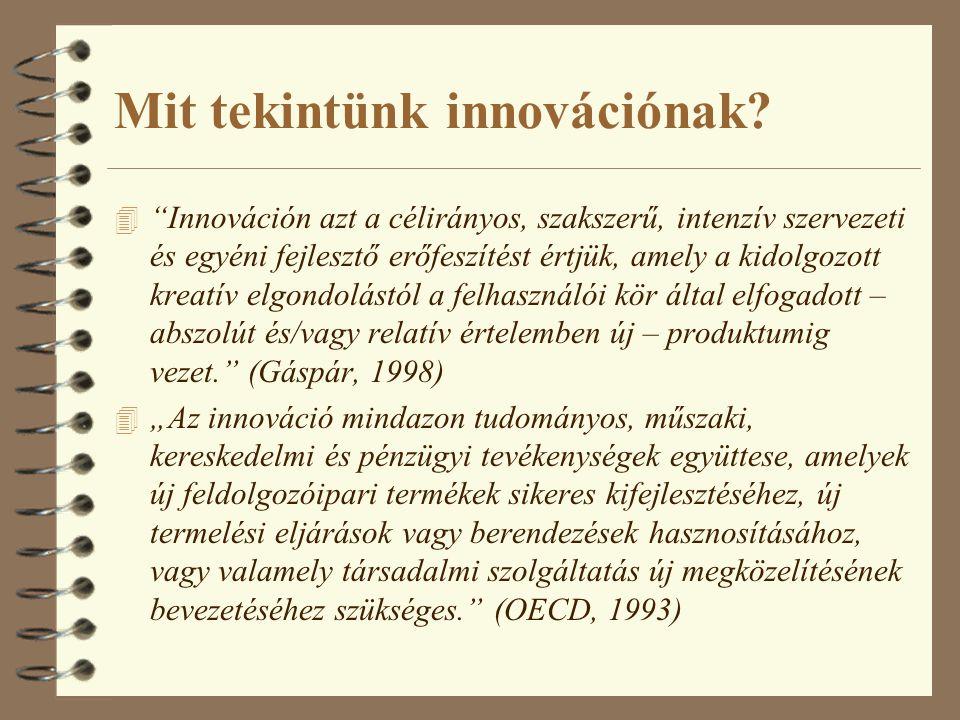 """Mit tekintünk innovációnak? 4 """"Innováción azt a célirányos, szakszerű, intenzív szervezeti és egyéni fejlesztő erőfeszítést értjük, amely a kidolgozot"""
