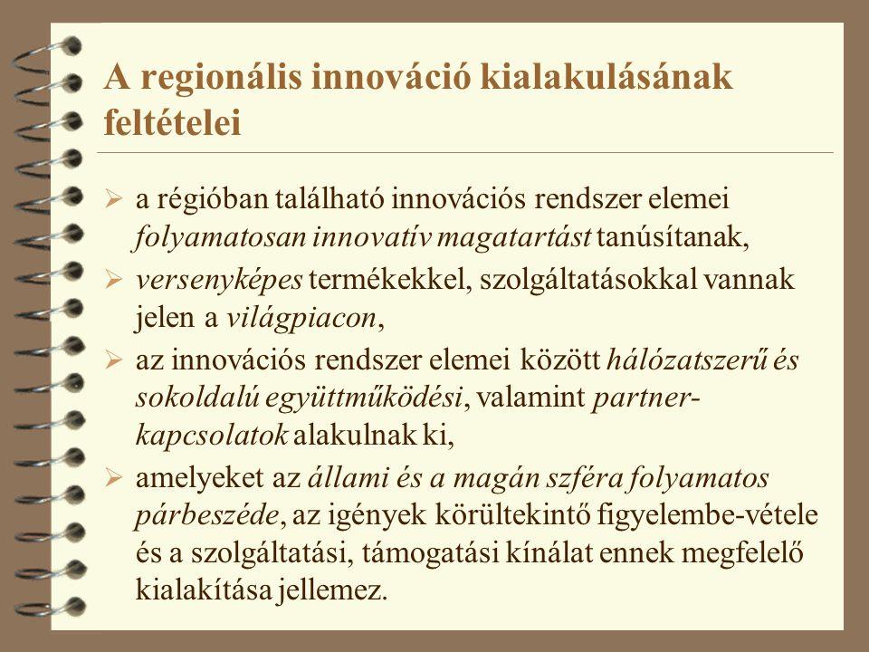 A regionális innováció kialakulásának feltételei  a régióban található innovációs rendszer elemei folyamatosan innovatív magatartást tanúsítanak,  v