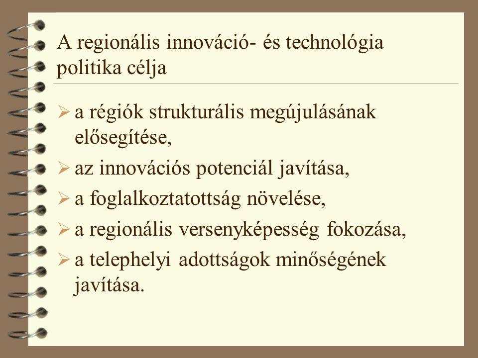 A regionális innováció- és technológia politika eszközei 4 a vállalkozások kutatás-fejlesztési tevékenységének ösztönzése; 4 az innovációk terjesztésének és alkalmazásának gyorsítása; 4 a munkavállalók képzettségi színvonalának növelése; 4 a gazdaság és a tudomány együttműködésének elősegítése; 4 regionális hálózatok, klaszterek kialakulásának támogatása.