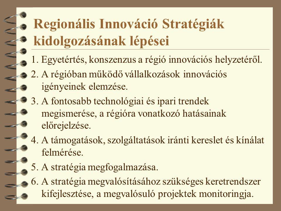 Regionális Innováció Stratégiák kidolgozásának lépései 1. Egyetértés, konszenzus a régió innovációs helyzetéről. 2. A régióban működő vállalkozások in