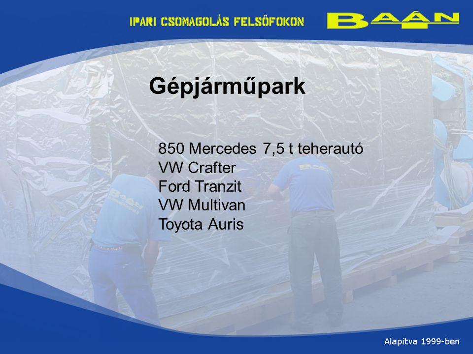 Gépjárműpark 850 Mercedes 7,5 t teherautó VW Crafter Ford Tranzit VW Multivan Toyota Auris