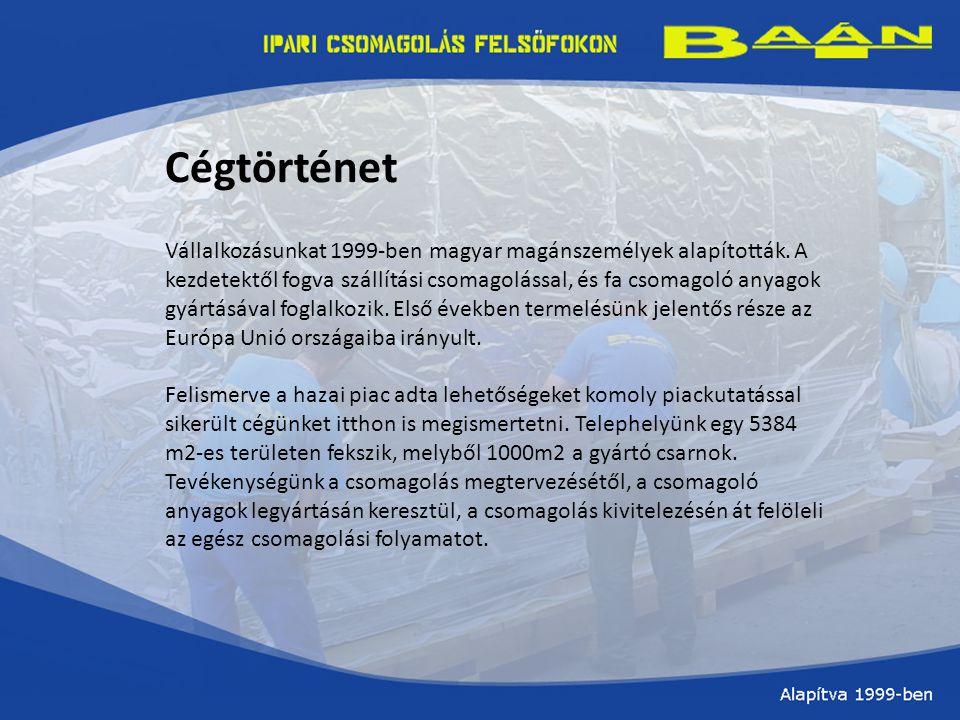 Cégtörténet Vállalkozásunkat 1999-ben magyar magánszemélyek alapították.