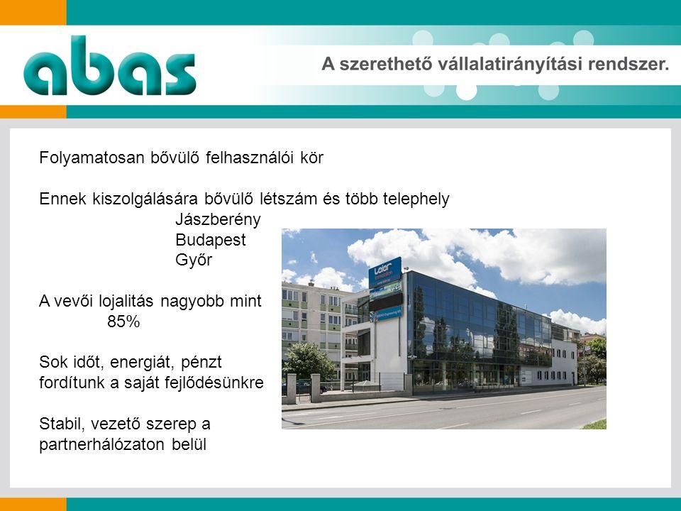 Folyamatosan bővülő felhasználói kör Ennek kiszolgálására bővülő létszám és több telephely Jászberény Budapest Győr A vevői lojalitás nagyobb mint 85% Sok időt, energiát, pénzt fordítunk a saját fejlődésünkre Stabil, vezető szerep a partnerhálózaton belül