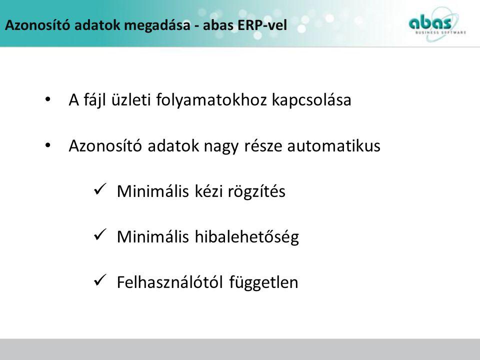 Azonosító adatok megadása - abas ERP-vel A fájl üzleti folyamatokhoz kapcsolása Azonosító adatok nagy része automatikus Minimális kézi rögzítés Minimá
