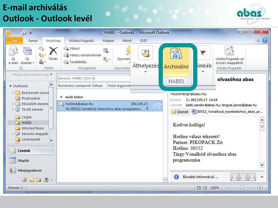 E-mail archiválás Outlook - Outlook levél