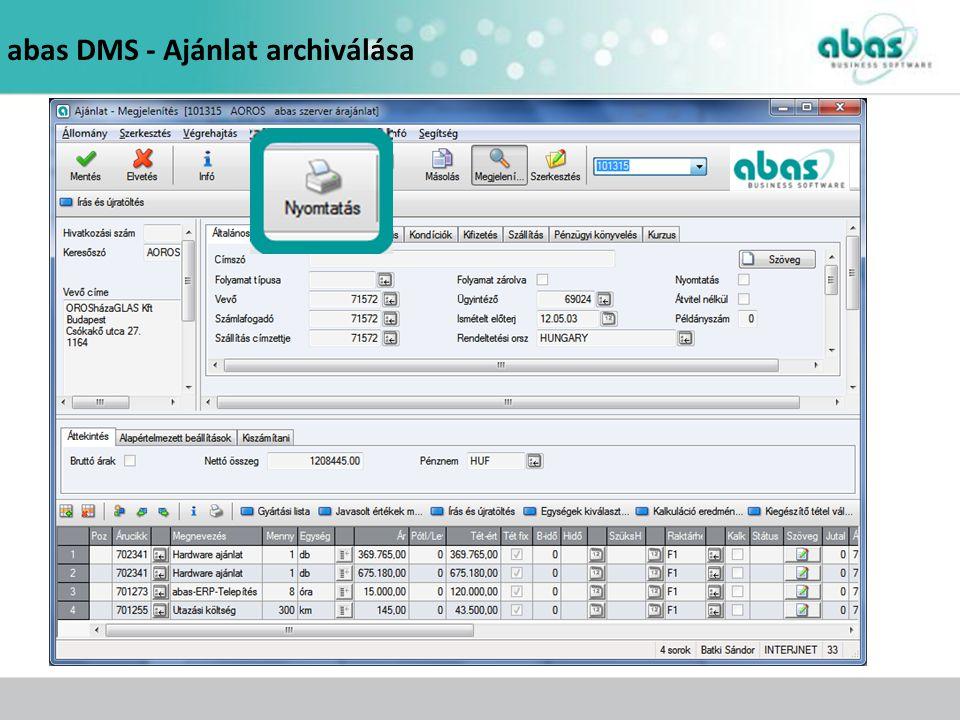 abas DMS - Ajánlat archiválása