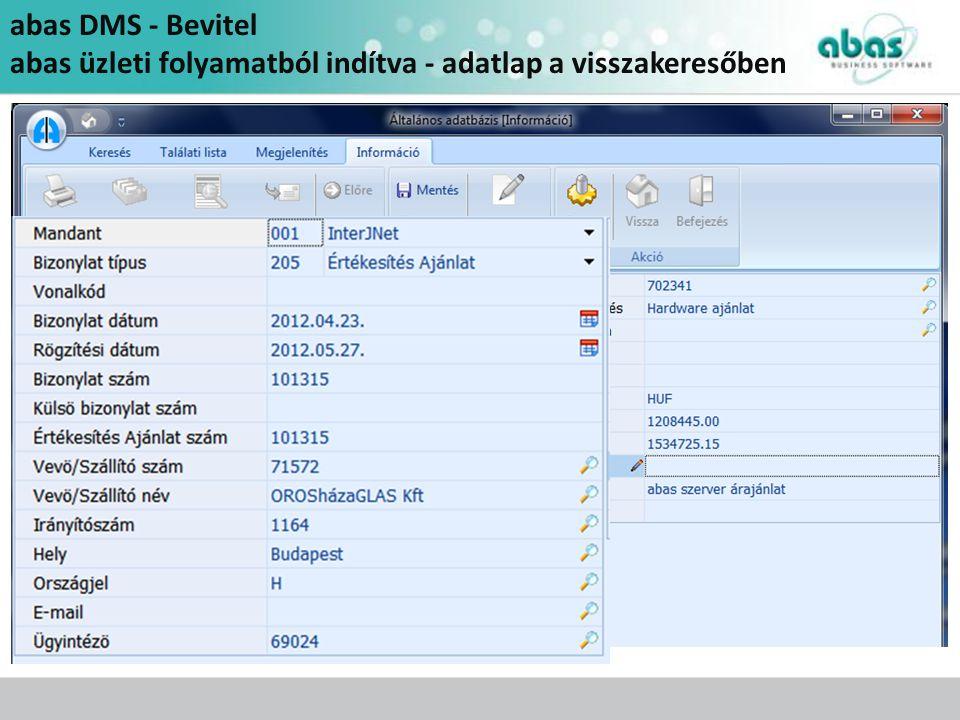 abas DMS - Bevitel abas üzleti folyamatból indítva - adatlap a visszakeresőben