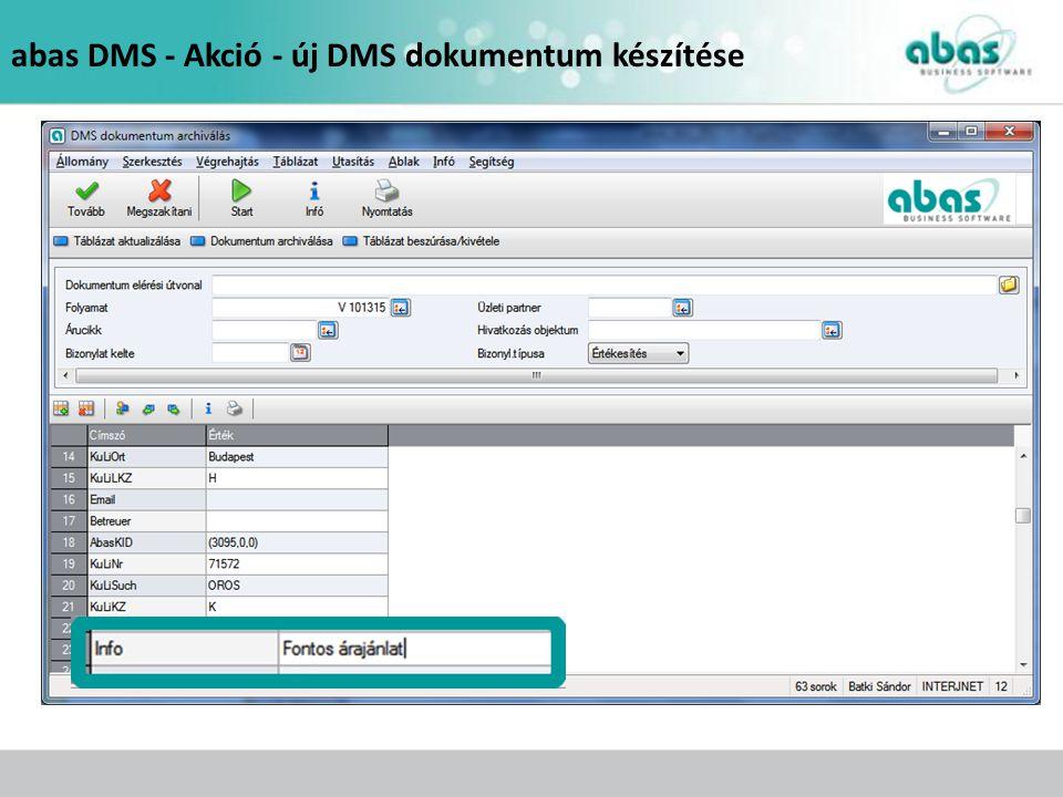 abas DMS - Dokumentum keresés infosystem