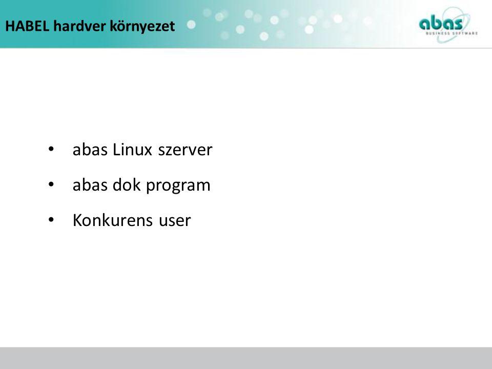 HABEL hardver környezet abas Linux szerver abas dok program Konkurens user