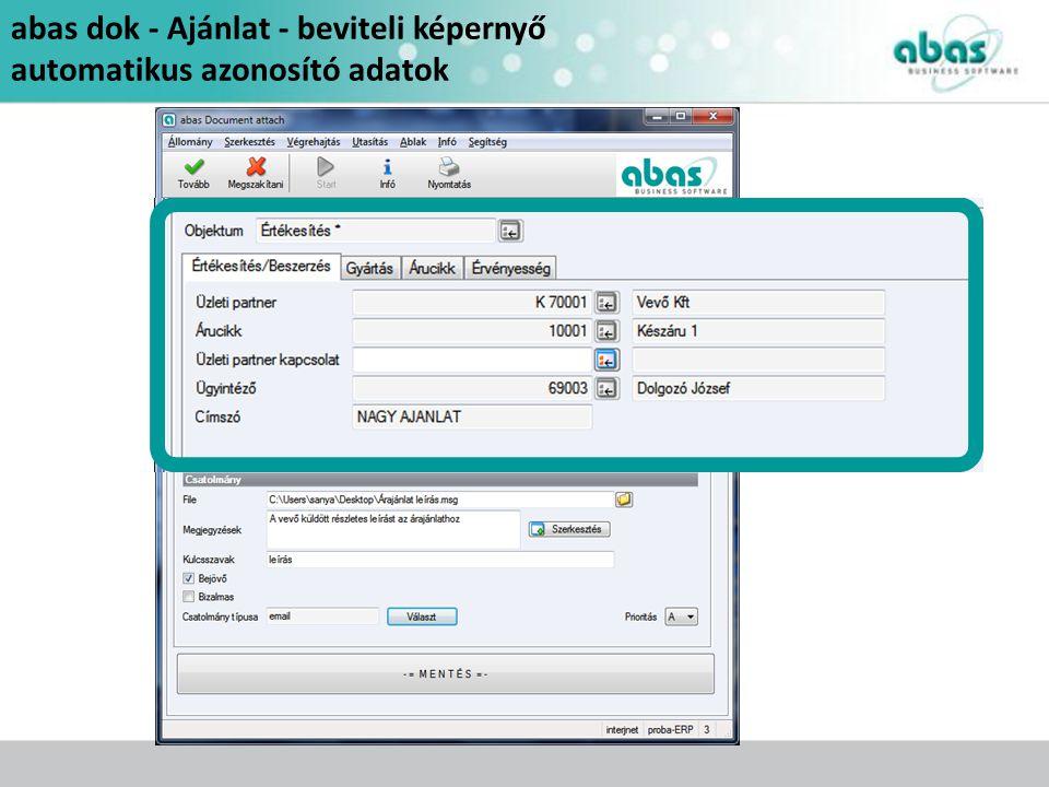 abas dok - Ajánlat - beviteli képernyő automatikus azonosító adatok