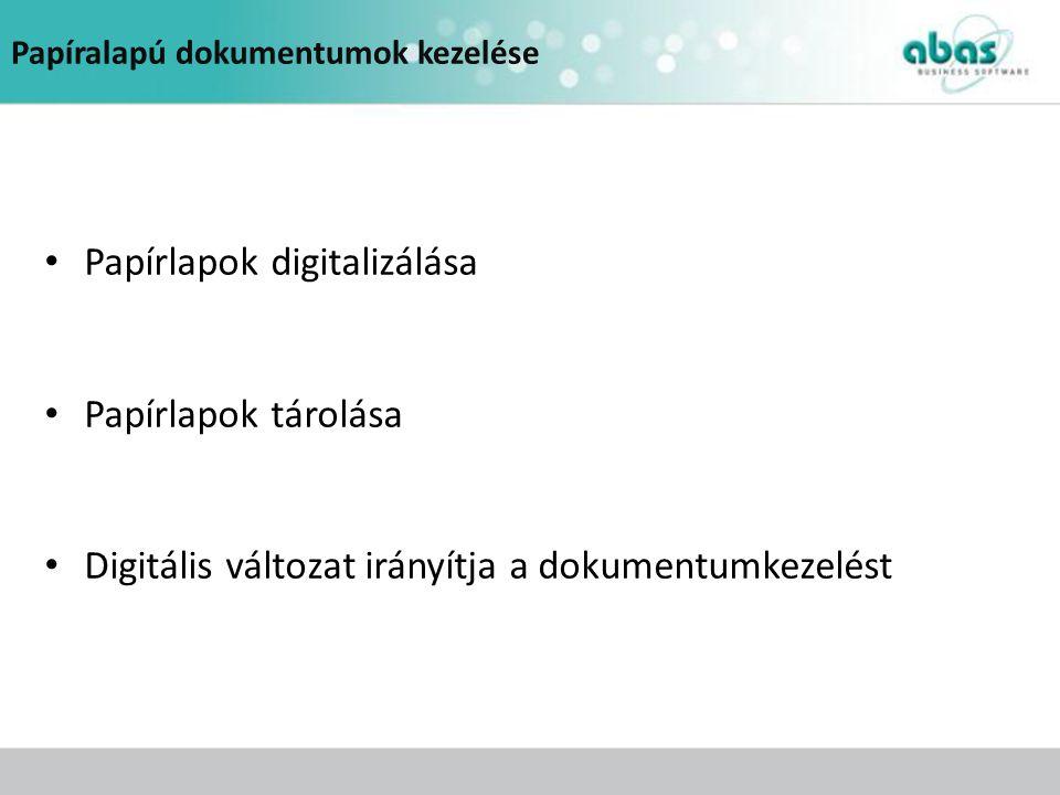 Papíralapú dokumentumok kezelése Papírlapok digitalizálása Papírlapok tárolása Digitális változat irányítja a dokumentumkezelést