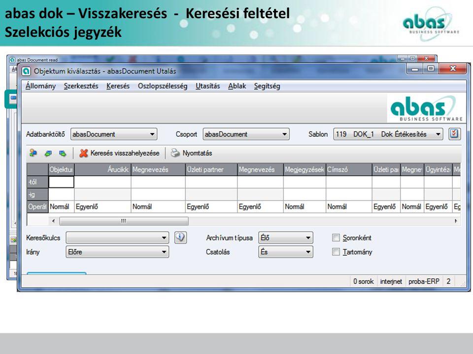 abas dok – Visszakeresés - Keresési feltétel Szelekciós jegyzék