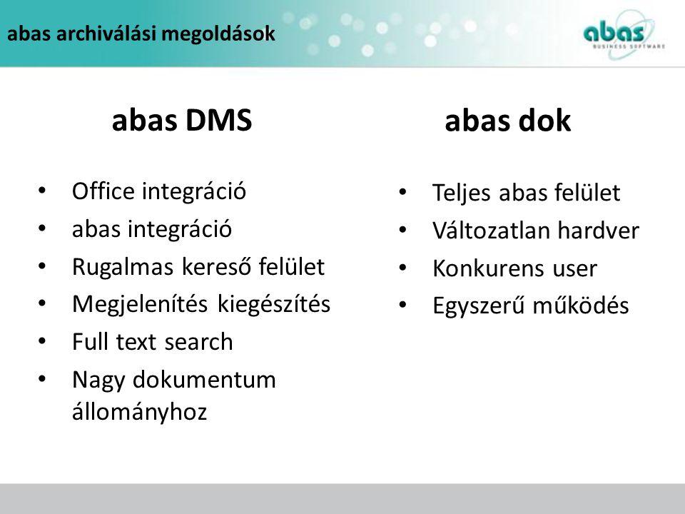 abas archiválási megoldások Office integráció abas integráció Rugalmas kereső felület Megjelenítés kiegészítés Full text search Nagy dokumentum állomá