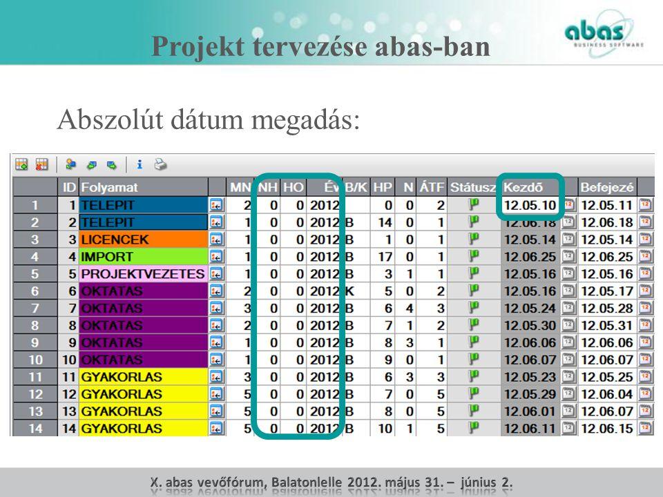 Projekt tervezése abas-ban Abszolút dátum megadás: