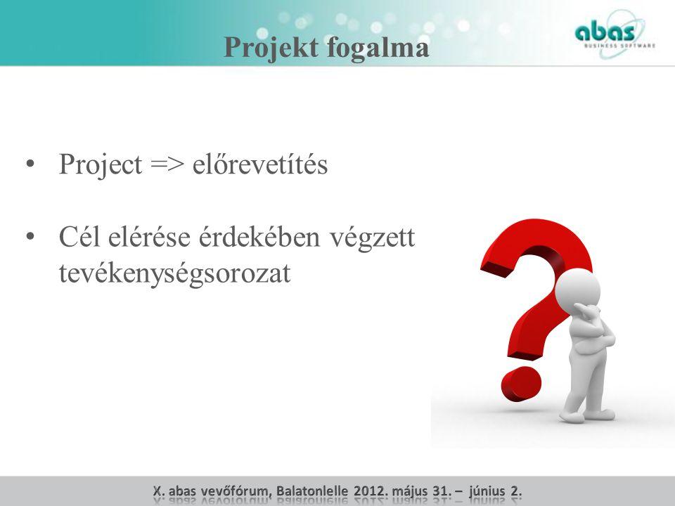 Projekt fogalma Project => előrevetítés Cél elérése érdekében végzett tevékenységsorozat