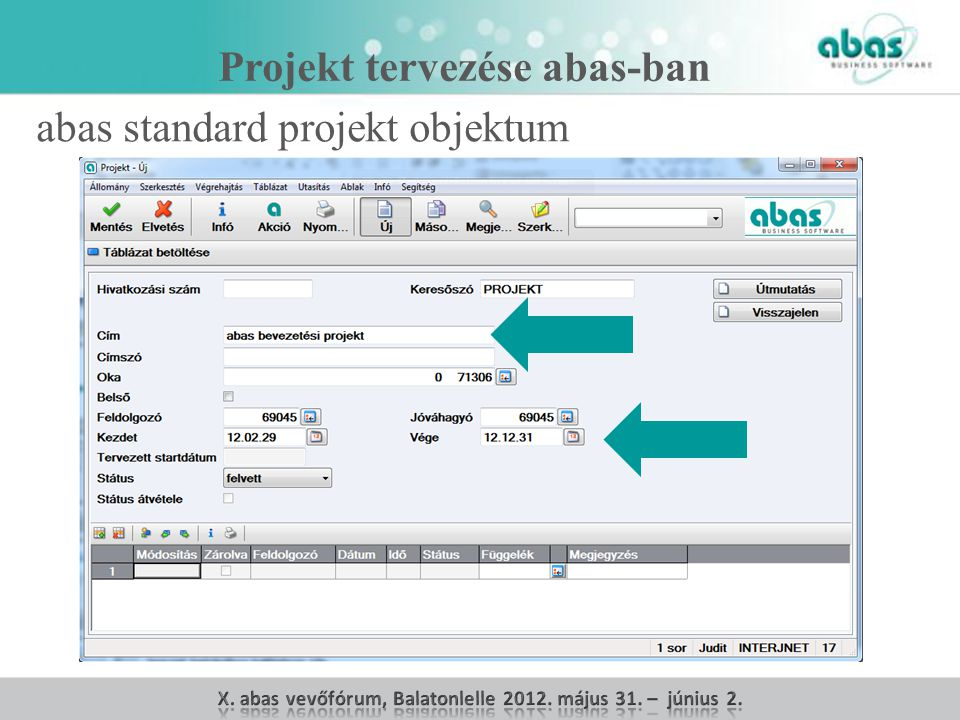 Projekt tervezése abas-ban abas standard projekt objektum
