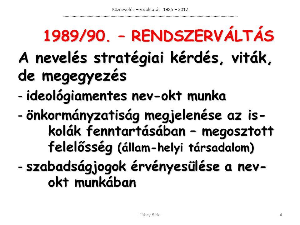 Köznevelés – közoktatás 1985 – 2012 ……………………………………………………………………………………………………………………………………… 1989/90.