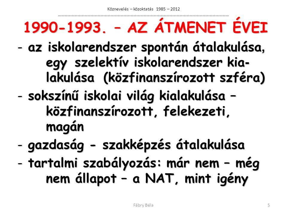 Köznevelés – közoktatás 1985 – 2012 ………………………………………………………………………………………………………………………………………… 1990-1993.