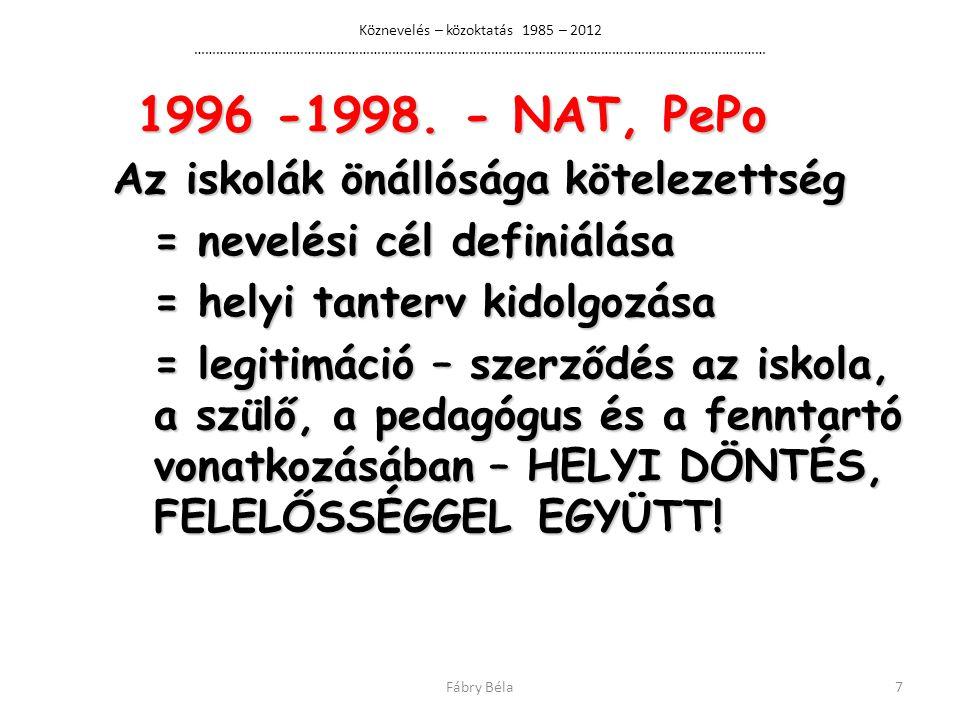 Köznevelés – közoktatás 1985 – 2012 ………………………………………………………………………………………………………………………………………… 1996 -1998.