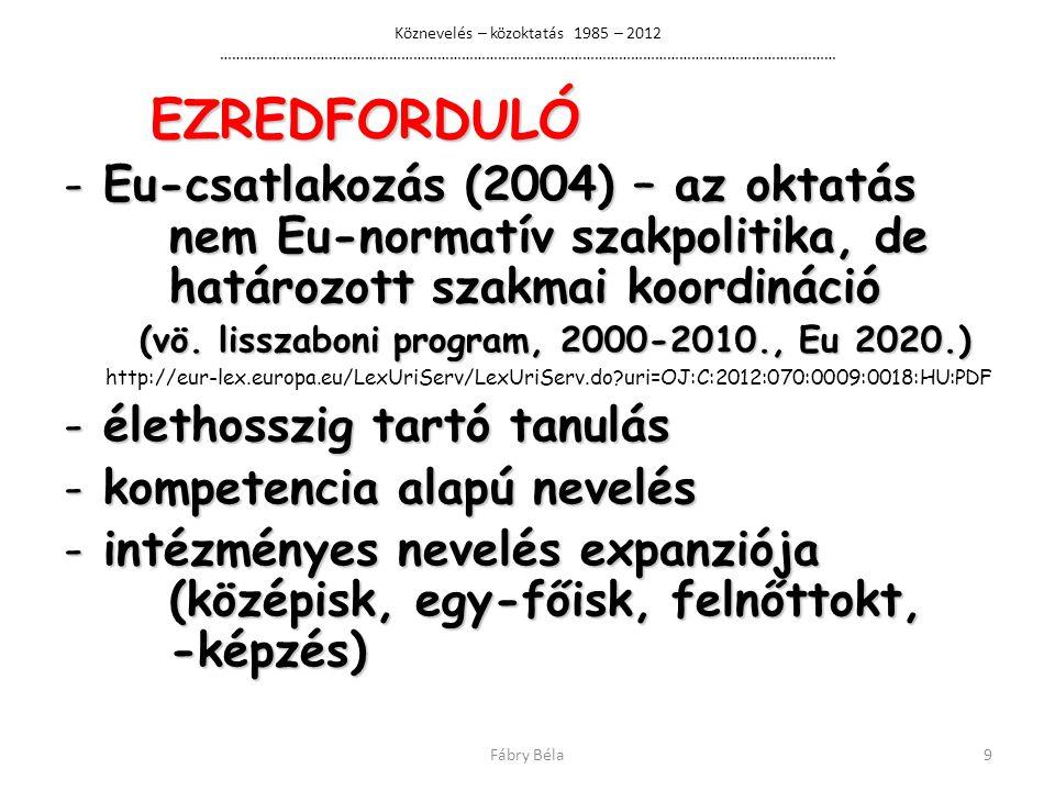 Köznevelés – közoktatás 1985 – 2012 ……………………………………………………………………………………………………………………………………… EZREDFORDULÓ EZREDFORDULÓ - Eu-csatlakozás (2004) – az oktatás nem Eu-normatív szakpolitika, de határozott szakmai koordináció (vö.
