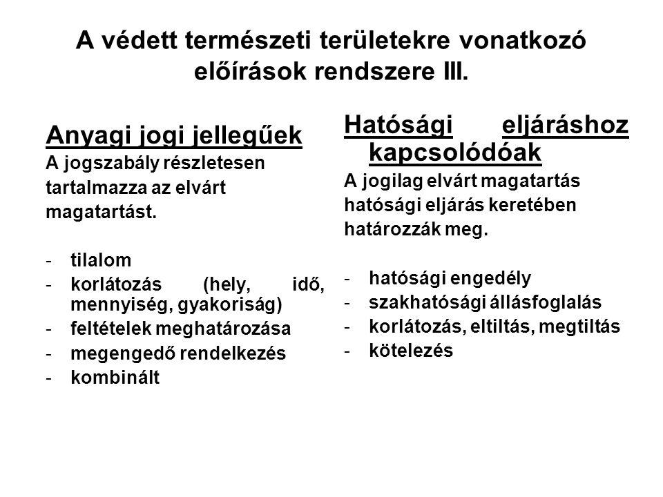 A védett természeti területekre vonatkozó előírások rendszere II. Hol állapítják meg? -törvény (Tvt. vagy más ágazati) -más szintű jogszabály (pl. Tvt