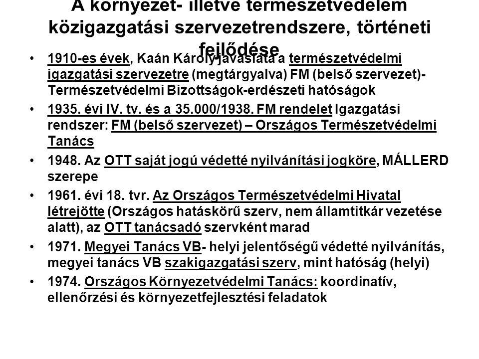 A környezet- illetve természetvédelem közigazgatási szervezetrendszere, történeti fejlődése Magyarországi megjelenés az erdészeti, vadászati, halászat