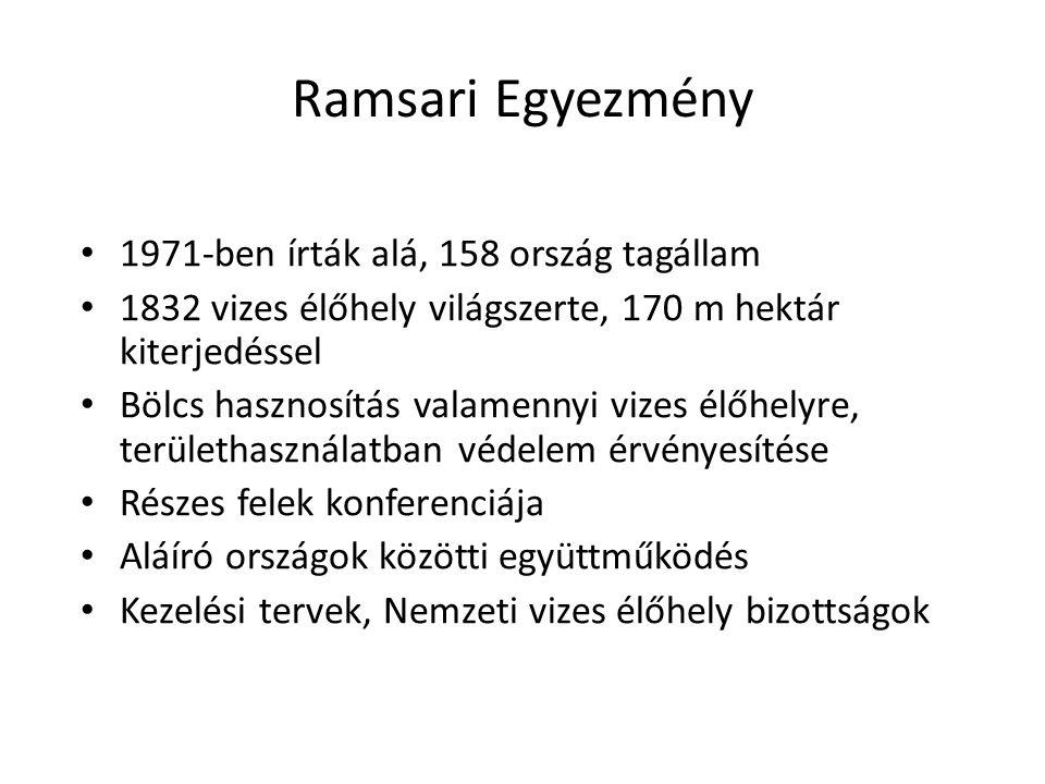 Ramsari Egyezmény 1971-ben írták alá, 158 ország tagállam 1832 vizes élőhely világszerte, 170 m hektár kiterjedéssel Bölcs hasznosítás valamennyi vize