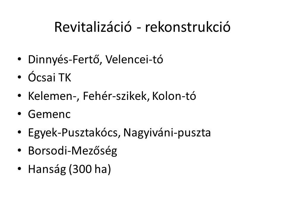 Revitalizáció - rekonstrukció Dinnyés-Fertő, Velencei-tó Ócsai TK Kelemen-, Fehér-szikek, Kolon-tó Gemenc Egyek-Pusztakócs, Nagyiváni-puszta Borsodi-M