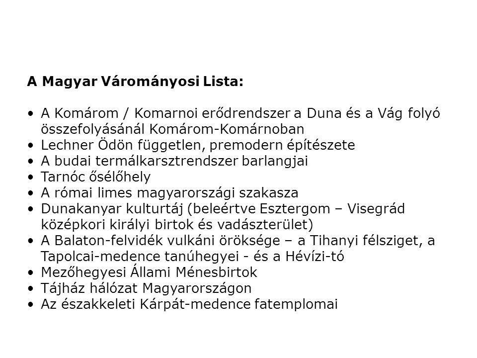 A Magyar Várományosi Lista: A Komárom / Komarnoi erődrendszer a Duna és a Vág folyó összefolyásánál Komárom-Komárnoban Lechner Ödön független, premode
