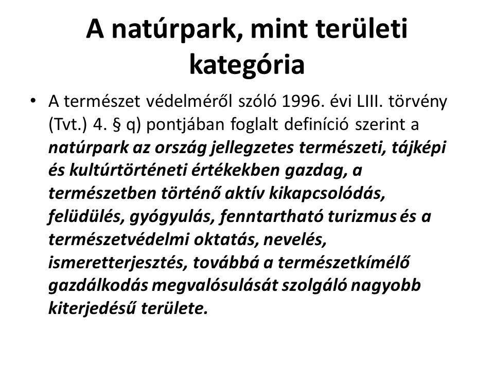 A natúrpark, mint területi kategória A természet védelméről szóló 1996. évi LIII. törvény (Tvt.) 4. § q) pontjában foglalt definíció szerint a natúrpa