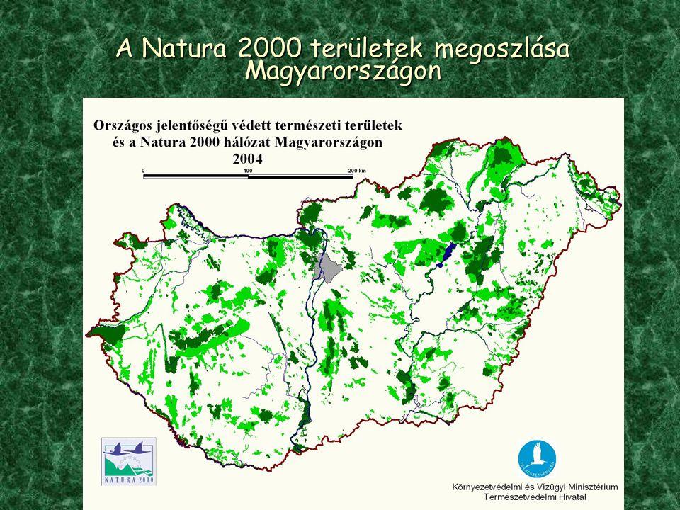 A Natura 2000 területek megoszlása Magyarországon