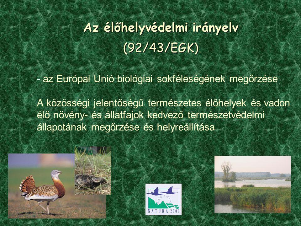 Az élőhelyvédelmi irányelv (92/43/EGK) - az Európai Unió biológiai sokféleségének megőrzése A közösségi jelentőségű természetes élőhelyek és vadon élő növény- és állatfajok kedvező természetvédelmi állapotának megőrzése és helyreállítása