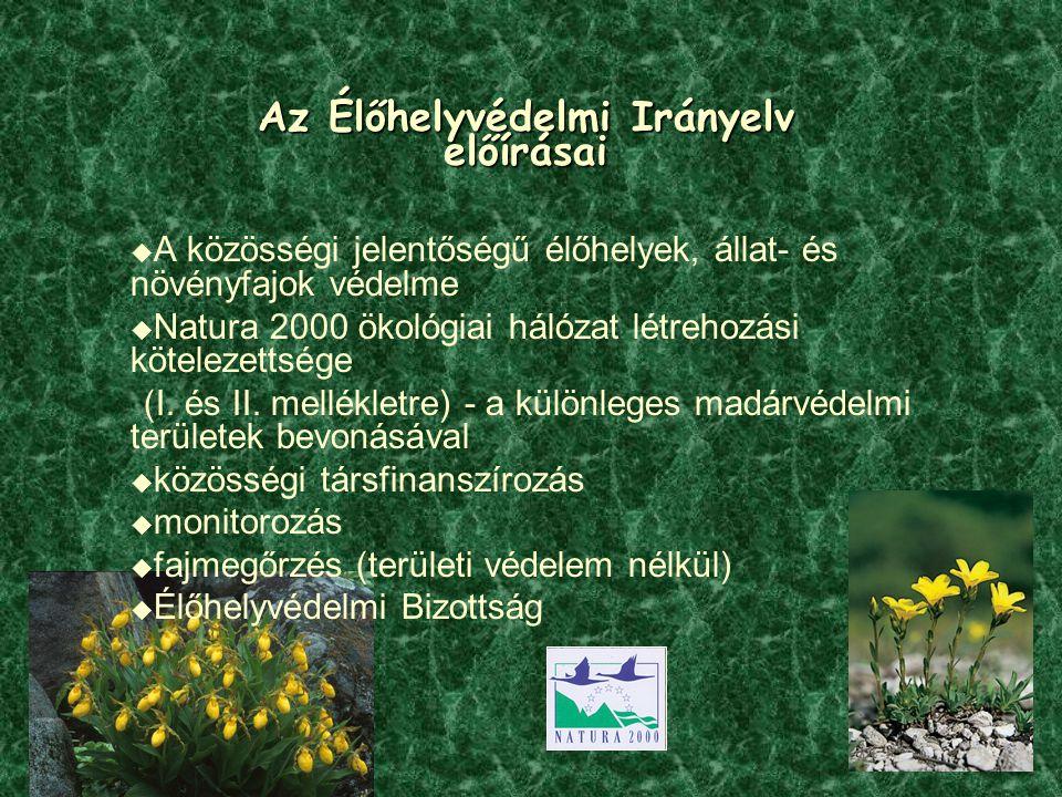 Az Élőhelyvédelmi Irányelv előírásai  A közösségi jelentőségű élőhelyek, állat- és növényfajok védelme  Natura 2000 ökológiai hálózat létrehozási kö