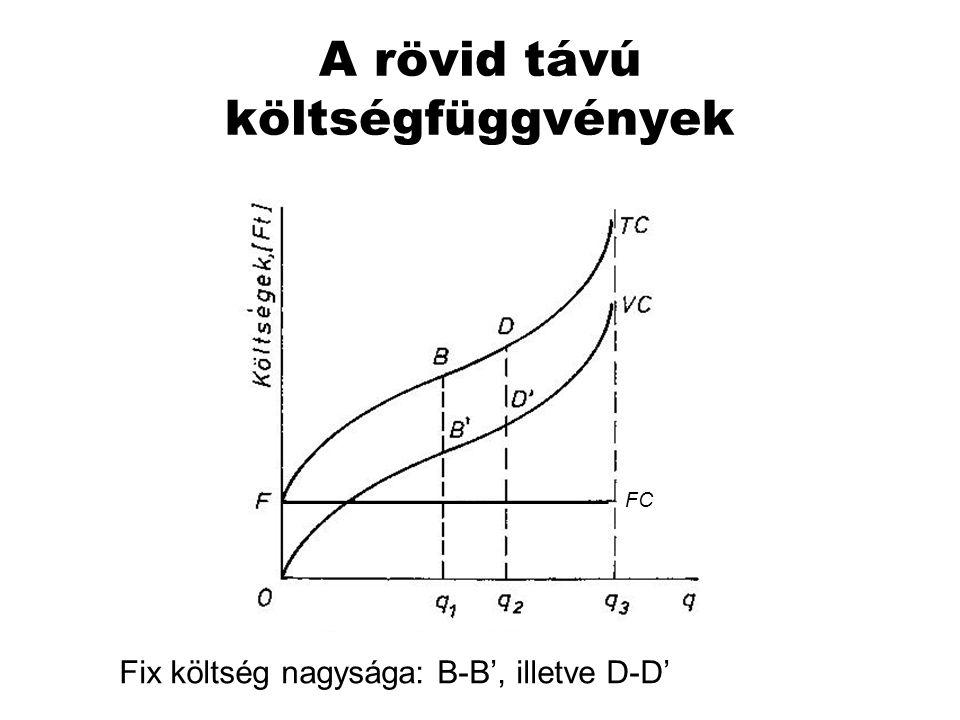 A rövid távú költségfüggvények FC Fix költség nagysága: B-B', illetve D-D'