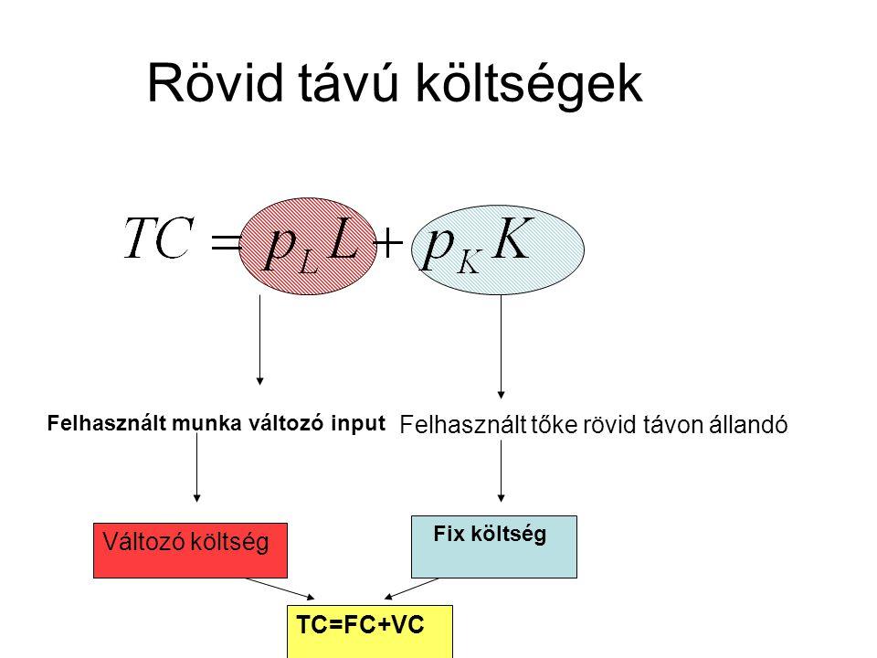 Rövid távú költségek Felhasznált tőke rövid távon állandó Fix költség Felhasznált munka változó input Változó költség TC=FC+VC
