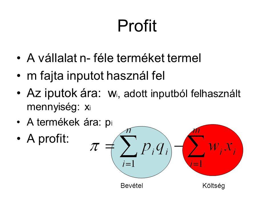 Profit A vállalat n- féle terméket termel m fajta inputot használ fel Az iputok ára: w i, adott inputból felhasznált mennyiség: x i A termékek ára: p